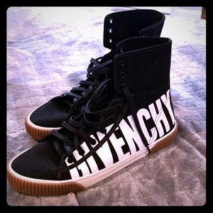 Givenchy Black Logo Boxing High-Top Sneakers 41.5
